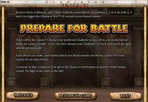 Правила призовой игры в аппарате Gladiator