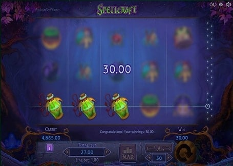 Выигрышная комбинация в аппарате Spellcraft