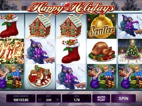 Выигрышная комбинация символов в автомате Happy Holidays