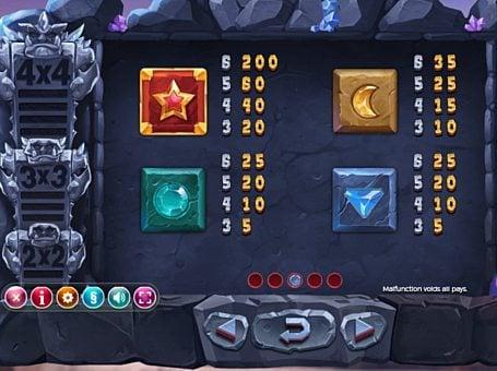 Таблица выплат в игре Gem Rocks