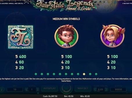 Таблица выплат выплат в игровом аппарате Hansel and Gretel