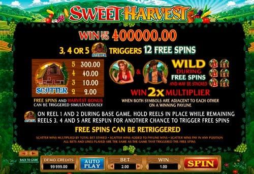 Дополнительные вращения в игровом аппарате Sweet Harvest