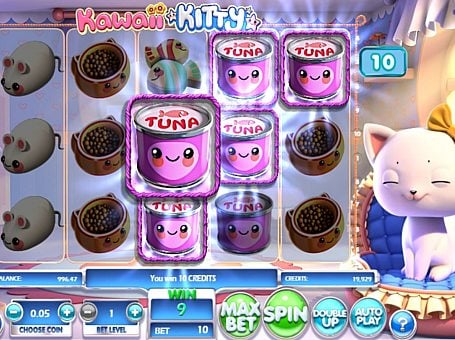 Призовая комбинация символов в игровом автомате Kawaii Kitty