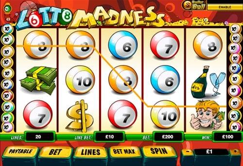 Призовая комбинация символов в игровом автомате Lotto Madness