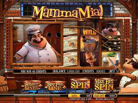 Призовая комбинация на линии в игровом автомате Mamma Mia