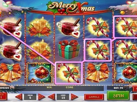 Призовая комбинация на линии в игровом автомате Merry Xmas