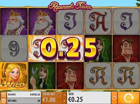 Призовая комбинация символов в игровом автоммате Rapunzel's Tower