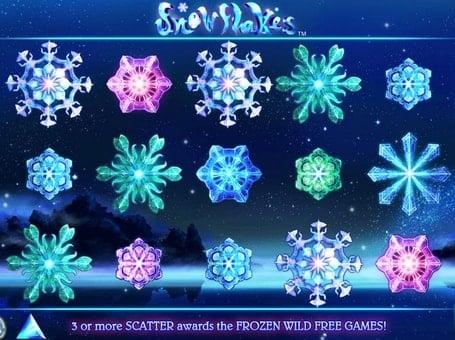 Выигрышная комбинация в автомате Snowflakes