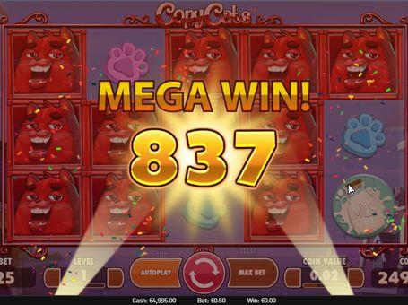 Большой выигрыш в онлайн игре Copy Cats