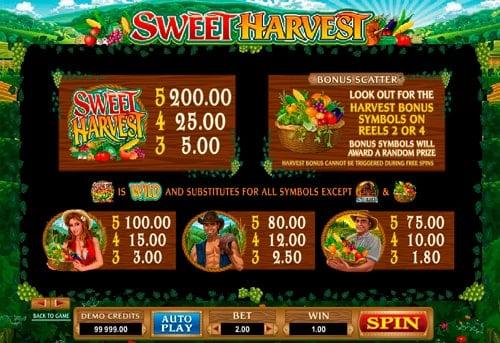 Символы и коэффициенты в онлайн игре Sweet Harvest