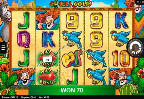 Выигрыш с диким знаком в онлайн слоте Chilli Gold