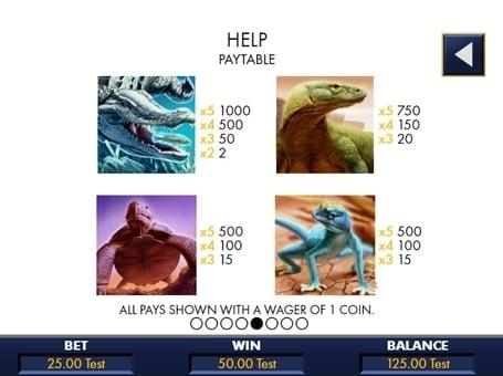 Таблица коэффициентов в онлайн слоте Reptile Riches