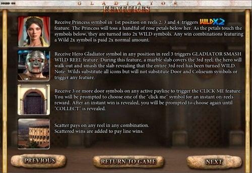 Описание бонусов в слоте Gladiator