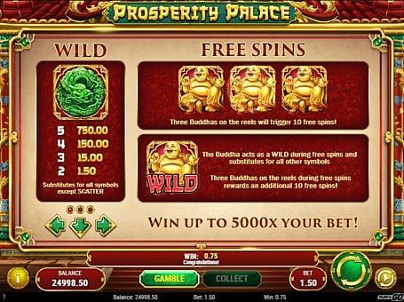 Wild и фриспины в слоте Prosperity Palace