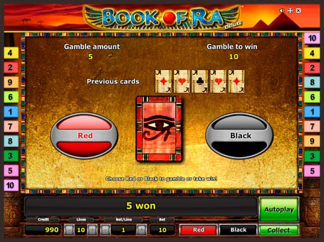 Риск игра в слоте Book of Ra Deluxe