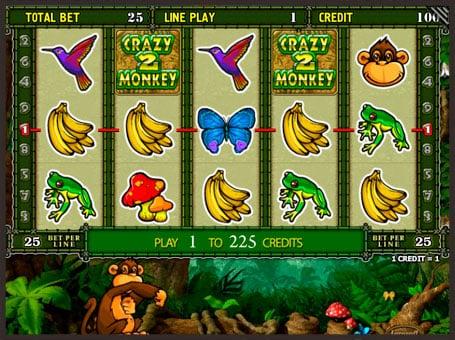 Выигрыш по первой линии в игровом автомате Crazy Monkey 2