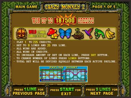 Правила игры на аппарате Crazy Monkey 2