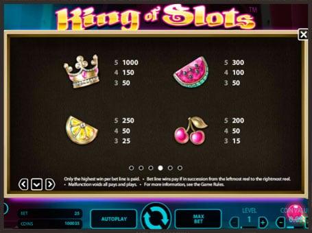 Таблица выплат в King of Slots