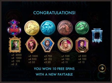 Выигрыш фриспинов с таблицей выплат в Mirror Magic