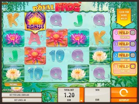 Бонус и дикий символ в игровом автомате Royal Frog
