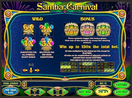 Правила бонусов и диких символов автомата Samba Carnival