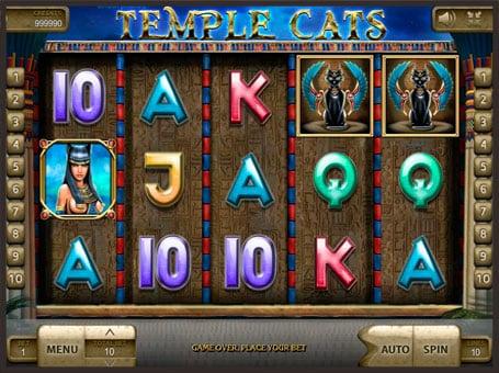 Символы на барабанах игрового автомата Temple Cats