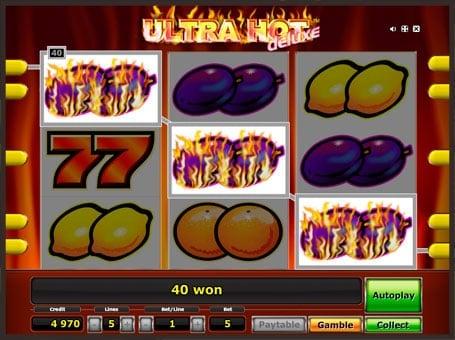 Выигрышная комбинация в игровом автомате Ultra Hot Delux